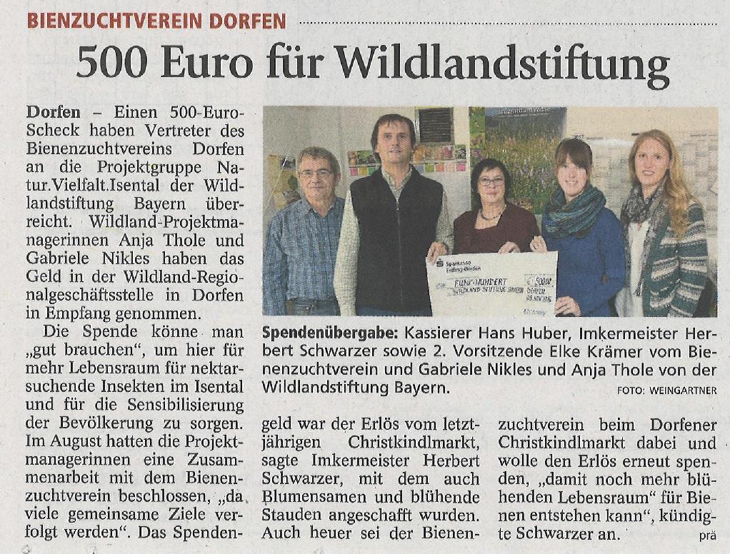 Wildland Spende 2016